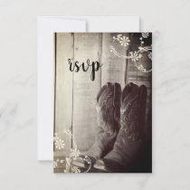 Rustic Cowboy Boots Country Western Wedding RSVP