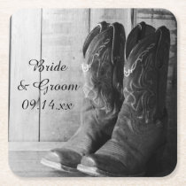 Rustic Cowboy Boots Country Western Wedding Square Paper Coaster
