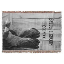 Rustic Cowboy Boots Country Western Wedding Throw Blanket