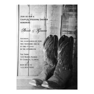 Rustic Cowboy Boots Couples Wedding Shower Invite