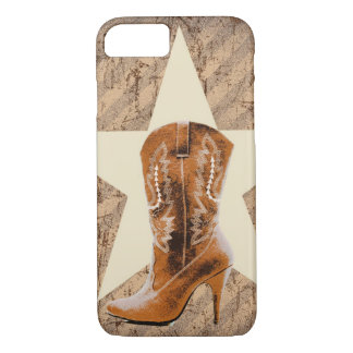 rustic cowboy boots cowgirl Texas star western iPhone 8/7 Case