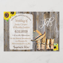 Rustic Cowboy Boots, Lace and Sunflowers Wedding Invitation