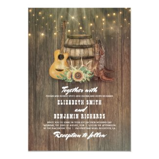 Rustic Cowboy Boots Sunflower Wine Barrel Wedding Card