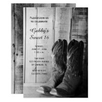 Rustic Cowboy Boots Sweet 16 Barn Birthday Party Invitation
