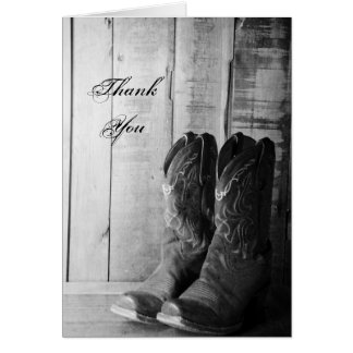 Rustic Cowboy Boots Wedding Groomsman Thank You Card