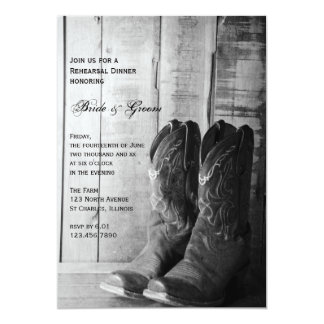Rustic Cowboy Boots Wedding Rehearsal Dinner 5x7 Paper Invitation Card