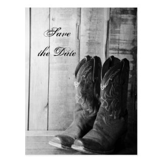 Rustic Cowboy Boots Wedding Save the Date Postcard