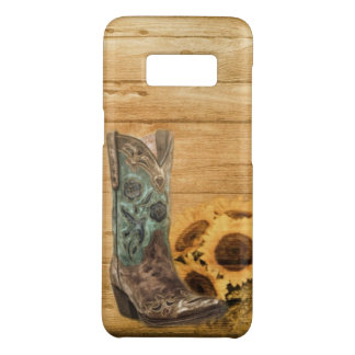 rustic cowboy boots western barn wood sunflower Case-Mate samsung galaxy s8 case
