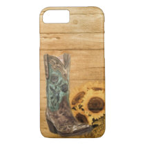 rustic cowboy boots western barn wood sunflower iPhone 7 case