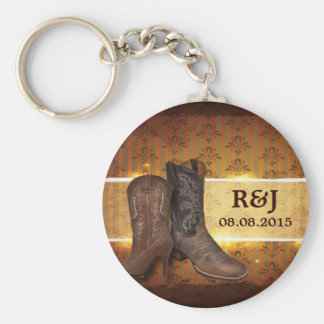 rustic cowboy boots western country wedding favor keychain