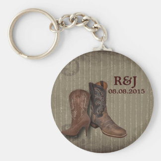 rustic cowboy boots western country wedding favor keychain