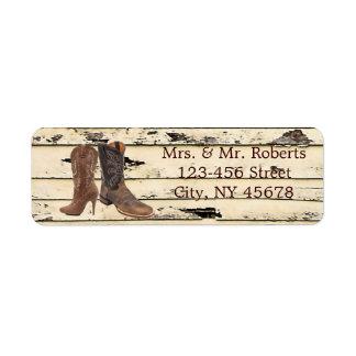 rustic Cowboy Boots Western country Wedding Custom Return Address Label