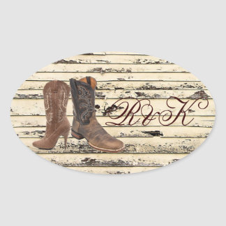 rustic Cowboy Boots Western country Wedding Oval Sticker