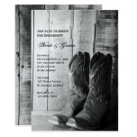 Rustic Cowboy Boots Western Engagement Party Card