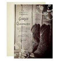 Rustic Cowboy Boots Western Quinceanera Party Invitation