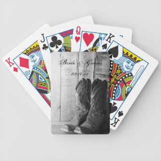 Rustic Cowboy Boots Western Wedding Bicycle Playing Cards