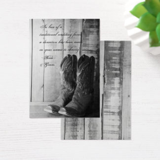 Rustic Cowboy Boots Western Wedding Charity Favors Business Card
