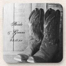 Rustic Cowboy Boots Western Wedding Coaster