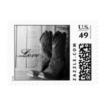 Rustic Cowboy Boots Western Wedding Love Postage