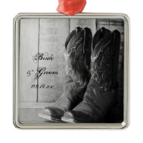 Rustic Cowboy Boots Western Wedding Metal Ornament