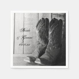 Rustic Cowboy Boots Western Wedding Paper Napkin