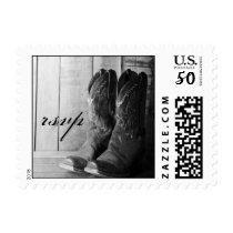 Rustic Cowboy Boots Western Wedding RSVP Postage