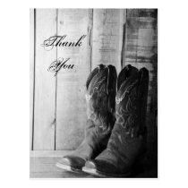 Rustic Cowboy Boots Western Wedding Thank You Postcard