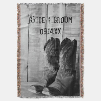 Rustic Cowboy Boots Western Wedding Throw Blanket