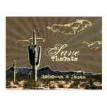 Rustic cowboy country cactus western save the date postcard