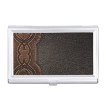 Rustic cowboy fashion western country brown business card holder