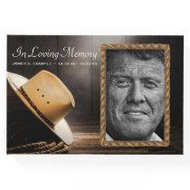 Rustic Cowboy Funeral Memorial Guest Book
