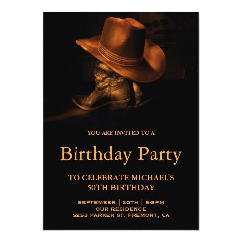 Rustic Cowboy Hat and Boots Birthday Party Invitation