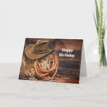 Rustic Cowboy Hat Rope Hay Photo Birthday Card