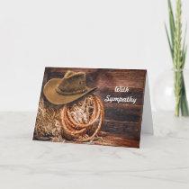 Rustic Cowboy Hat Rope Hay Photo Sympathy Card