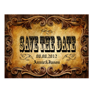 Rustic CowBoy OldWest Wedding SaveTheDate Card Postcard