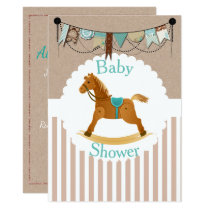 Rustic Cowboy Rocking Horse Western Baby Shower Card