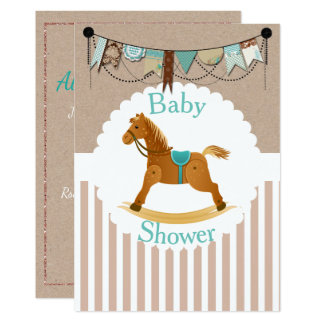 Rustic Cowboy Rocking Horse Western Baby Shower Card