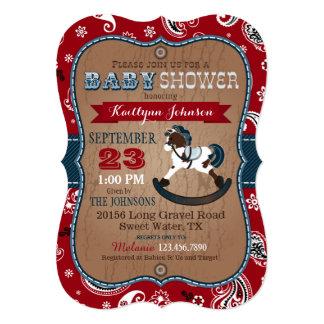 Rustic Cowboy Western Rocking Horse Baby Shower Card
