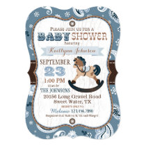 Rustic Cowboy Western Rocking Horse Baby Shower Card