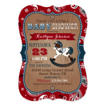 Rustic Cowboy Western Rocking Horse Baby Shower Invitation