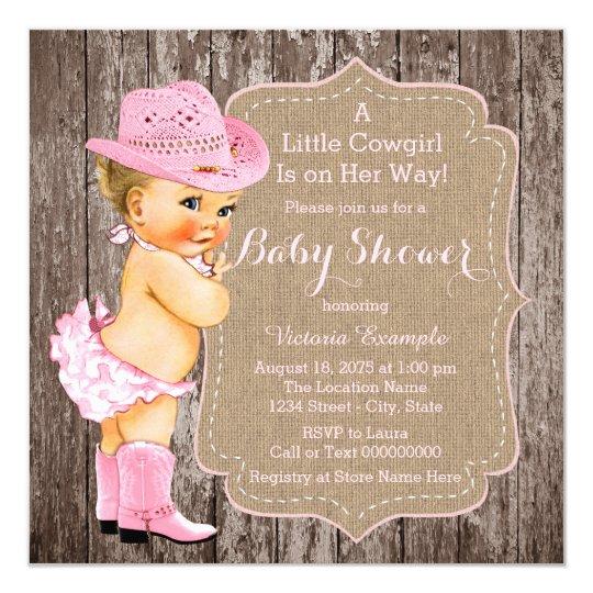 Rustic Cowgirl Baby Shower Invitation Zazzlecom