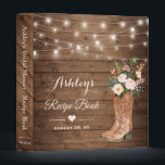 """Rustic Cowgirl Boots Floral Bridal Shower Recipe 3 Ring Binder<br><div class=""""desc"""">Rustic Cowgirl Boots Floral Bridal Shower Recipe Binder.  (1) For further customization,  please click the &quot;customize further&quot; link and use our design tool to modify this template.  (2) If you need help or matching items,  please contact me.</div>"""