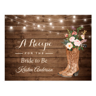 628322b7bf8 Rustic Cowgirl Boots Flowers Bridal Shower Recipe Postcard
