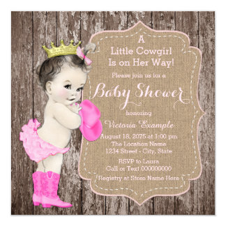 Rustic Cowgirl Princess Baby Shower Card