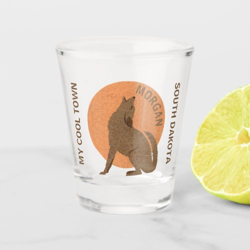 Rustic Coyote Faux Leather Fun Add Your State Shot Glass