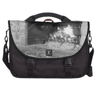 Rustic Cozy Log Fire Fireplace Hearth in Winter Bag For Laptop