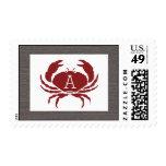 Rustic Crab Monogram Wedding Stamp