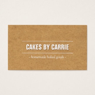 Rustic Craft Cardboard Bakery/Catering/Chef Business Card