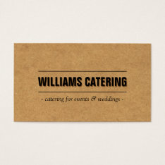 Rustic Craft Cardboard Ii Bakery/catering/chef Business Card at Zazzle