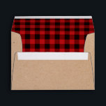 """Rustic Craft Paper and Plaid Holiday Envelopes<br><div class=""""desc"""">Rustic look Christmas card envelope done in a craft paper look,  on the outside,  and a red and black buffalo plaid pattern,  on the inside.  Personalize the black custom return address,  on the back flap,  to suit your needs.  Matching holiday greeting cards are available.</div>"""